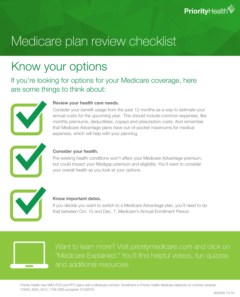 medicare plan review checklist choosing the right plan thinkhealth