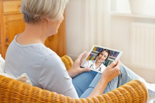 Woman virtual doctor appointment