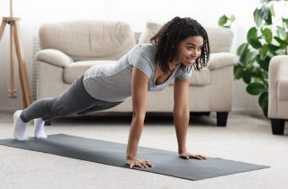 ThinkHealth personal wellness 30 day challenges woman planking